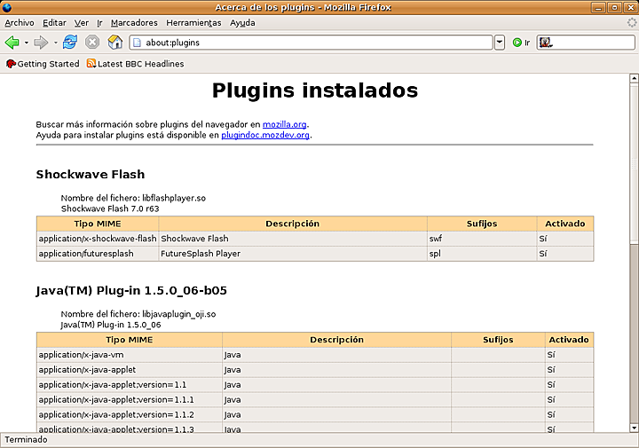 Ubuntu 7.10 y Shockwave Flash 7.0 r61 tocando los bemoles
